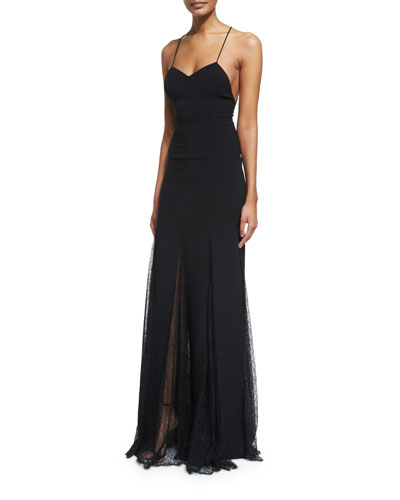 Sleeveless Open-Back Lace-Overlay Gown, Black