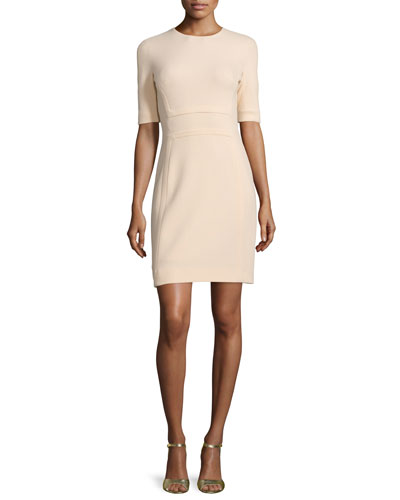 Half-Sleeve Jewel-Neck Sheath Dress, Nude