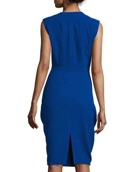 Sleeveless Draped Waffle-Knit Dress, Cobalt