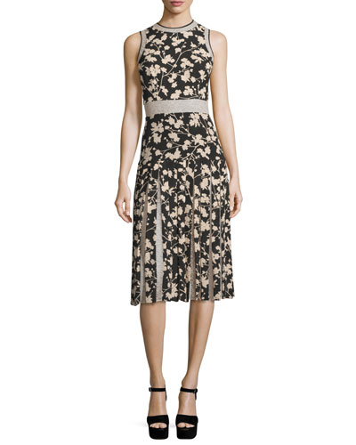 Sleeveless Floral Georgette Dress w/Lace Insets, Black/Tan
