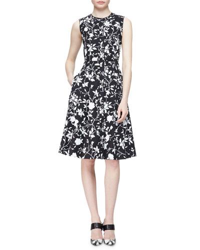 Floral-Print Poplin Sleeveless Shirtdress, Black/White