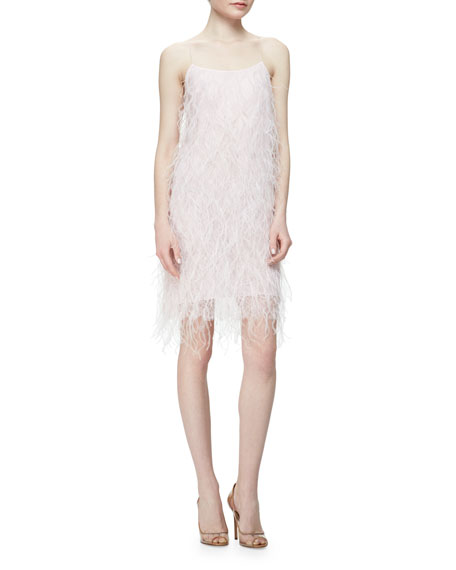 Feathered Chantilly Lace Dress, Pink