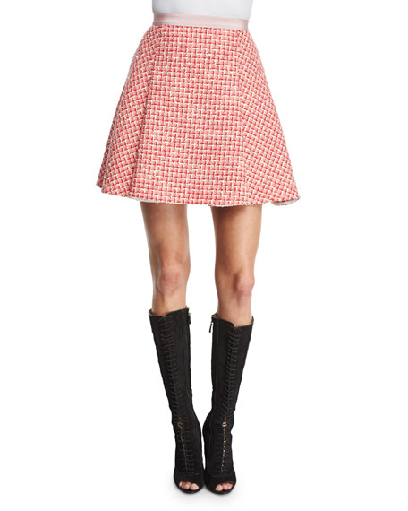 Tweed A-Line Skirt, Pink