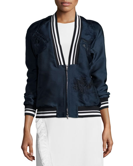 Souvenir Embroidered Bomber Jacket, Navy