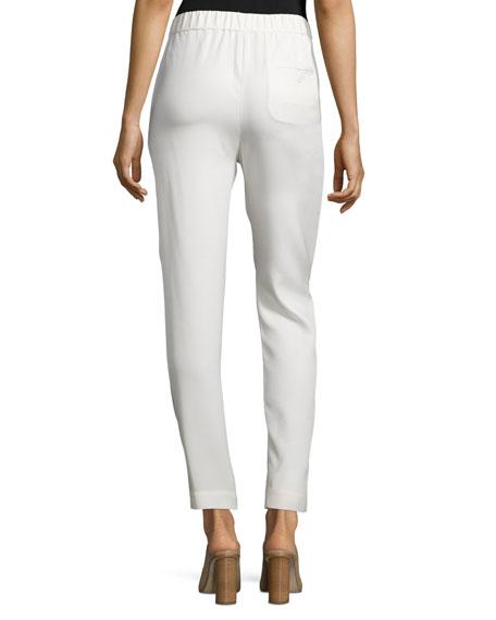 Draped Silk Crepe Trousers