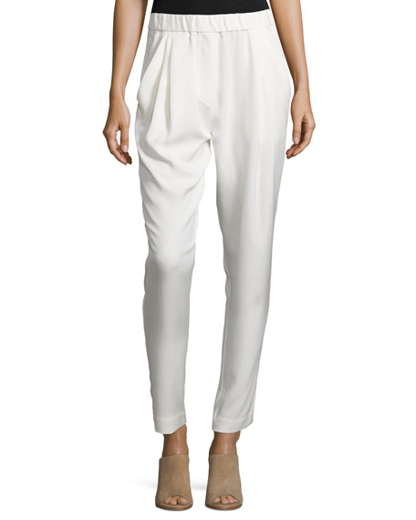 Draped Silk Crepe Trousers