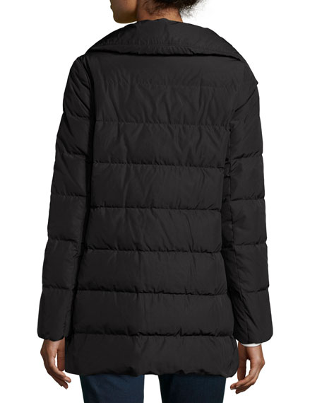 Petrea Quilted Puffer Coat, Black