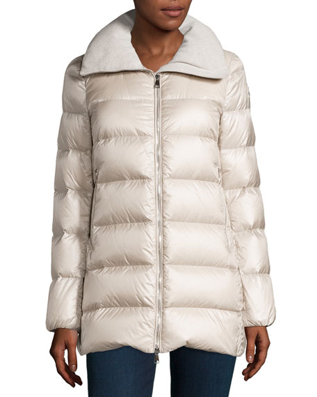 Torcyn Quilted Wool-Lined Puffer Coat, Ivory