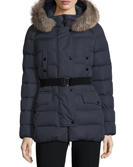 Clio Matte Down Puffer Coat, Navy