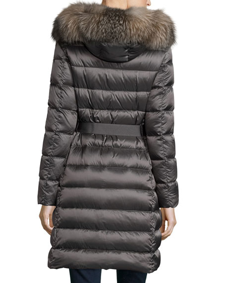 Tinuviel Shiny Quilted Puffer Coat w/Fur Hood, Gray
