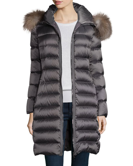 Moncler Tinuviel Shiny Quilted Puffer Coat w/Fur Hood,