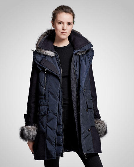 Elestoria Two-Piece Puffer Coat w/Fur Trim, Navy