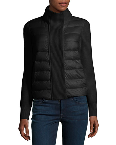 Maglione Quilted/Tricot Cardigan Jacket, Black