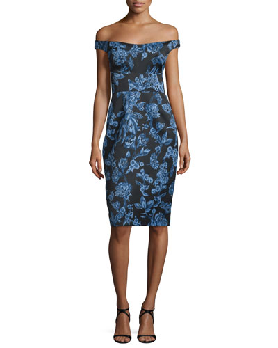 Off-The-Shoulder Floral-Print Sheath Dress, Blue