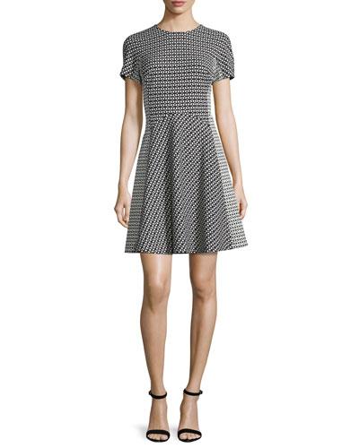 Short-Sleeve Geometric-Print Dress, Black/Ivory