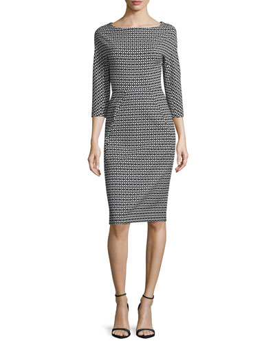 3/4-Sleeve Geo-Print Jacquard Sheath Dress, Black/Ivory