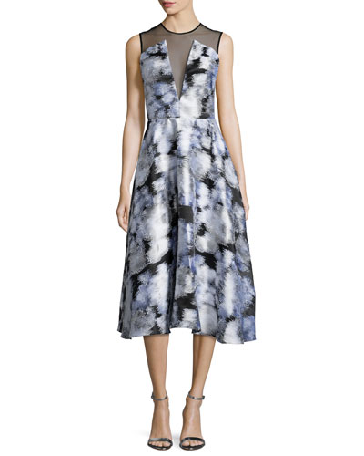 Sleeveless Ikat Midi Dress, Multi Colors