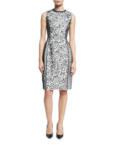 Sleeveless Rose-Embroidered Bottle Dress, Black/White