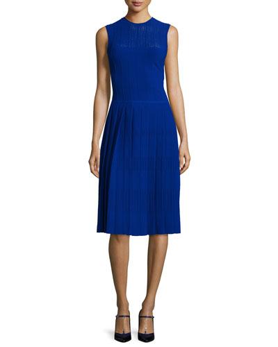 Sleeveless Knit Crewneck Dress, Cobalt
