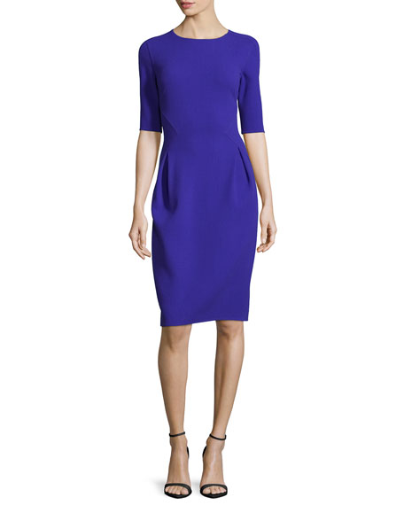 Half-Sleeve Jewel-Neck Pencil Dress, Cobalt