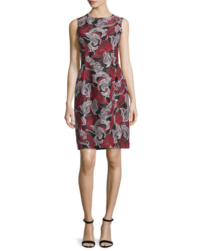 Sleeveless Graphic Lily-Print Dress, Blackberry