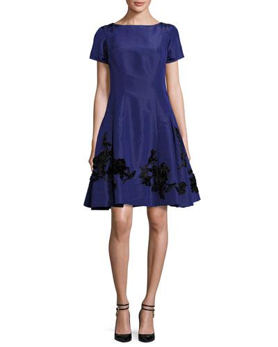 Short-Sleeve Embroidered Cocktail Dress, Cobalt