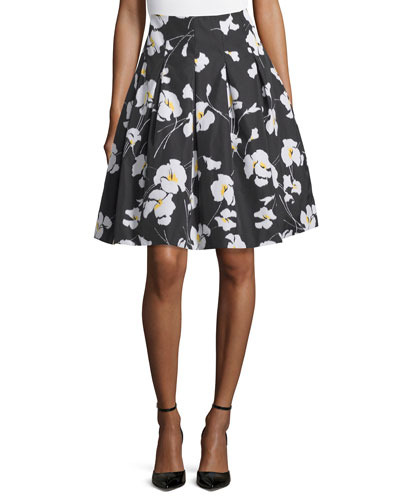 Daisy-Print Techno Taffeta Skirt, Black