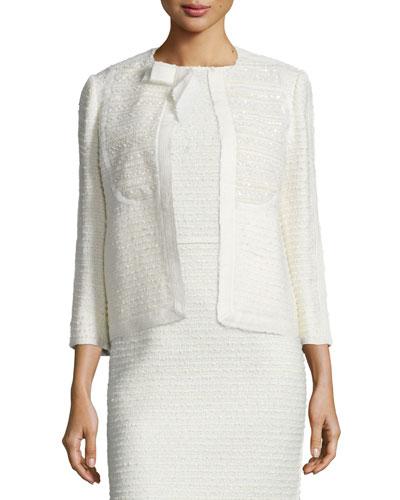 Sequined Tweed Bow Jacket, Vanilla