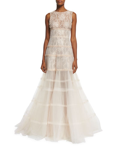 Sleeveless Tiered Tulle & Lace Gown, Gold
