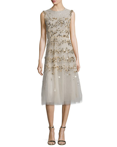 Sleeveless Sequin-Embroidered Tulle Cocktail Dress, Gold