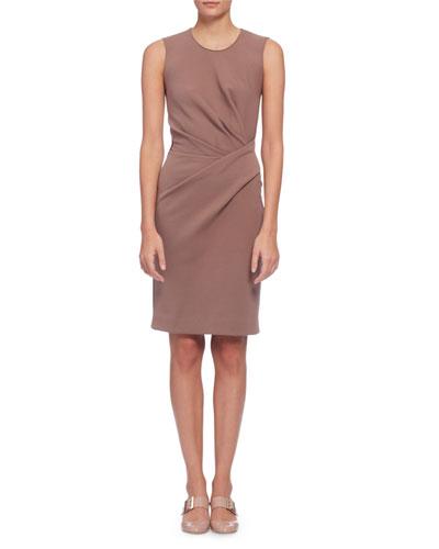 Sleeveless Draped Sheath Dress, Rosewood