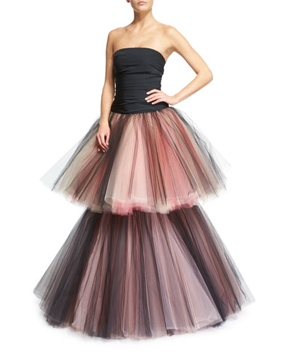 Strapless Ruched Two-Tiered Tulle Gown, Black/Pink