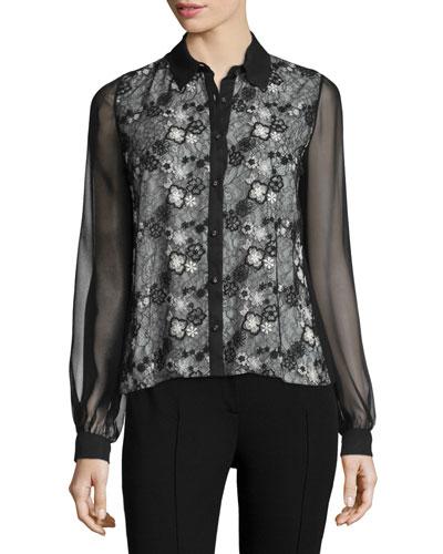 Lace-Front Chiffon Blouse, Black