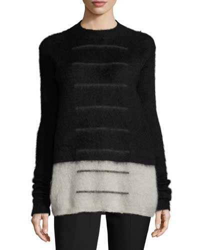 Contrast-Bottom Crewneck Sweater, Black/White