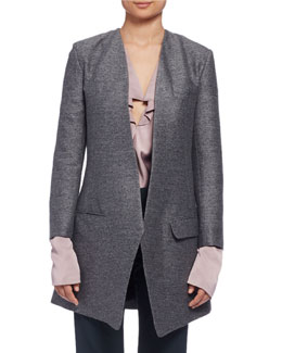 Long Heathered One-Button Jacket, Gray (Gris)