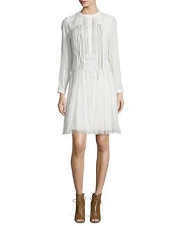 Long-Sleeve Drop-Waist Silk Dress, White