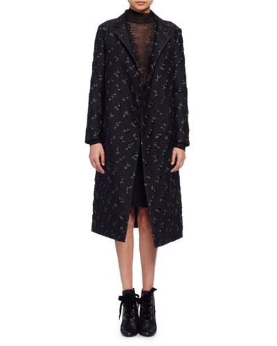 Floral Brocade Top Coat, Black (Noir)