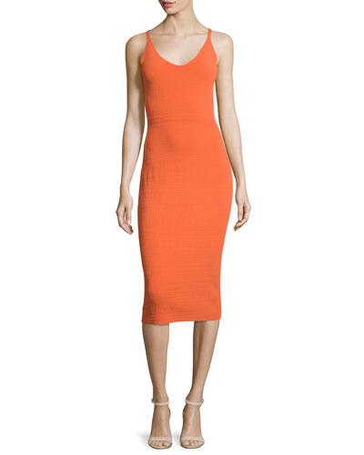 Sleeveless Knit Merino-Blend Dress, Orange
