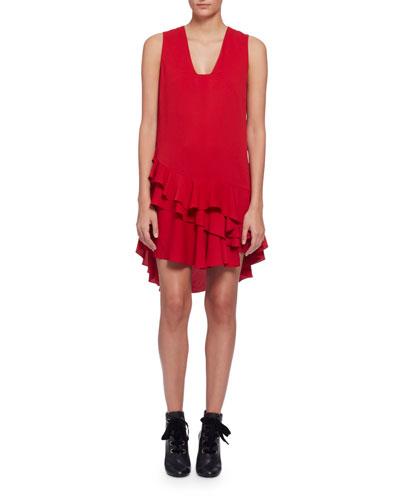 Sleeveless V-Neck Ruffle-Hem Dress, Red