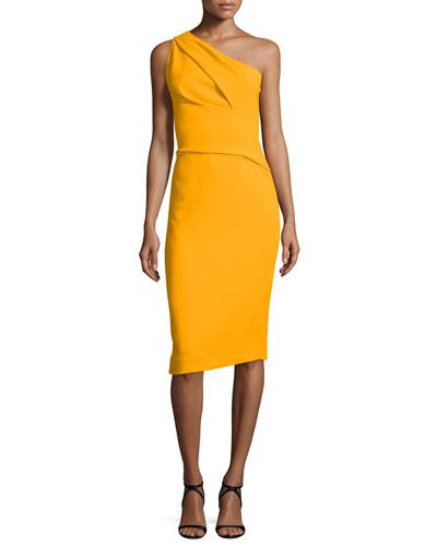 Pleated One-Shoulder Crepe Dress, Marigold