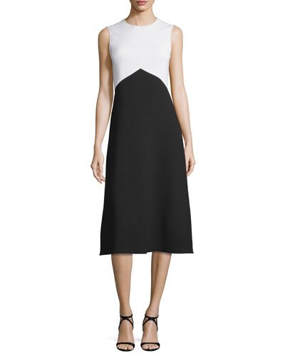 Sleeveless Bicolor Crepe Dress, Black/White