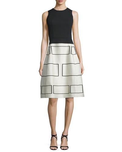 Sleeveless Square-Print Jacquard Dress, Black/Brown
