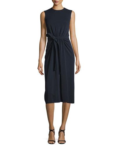 Sleeveless Crepe Jersey Tie-Waist Dress, Navy