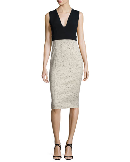 Narciso Rodriguez Sleeveless Fitted Jacquard Combo Dress,