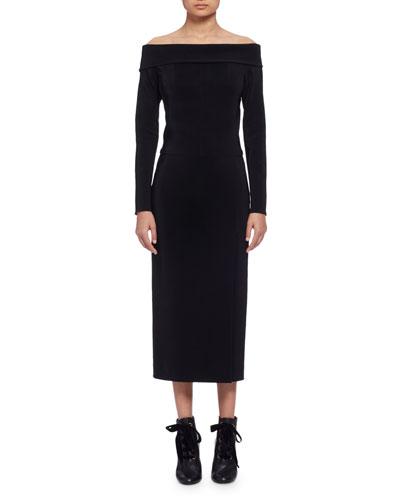 Long-Sleeve Off-the-Shoulder Midi Dress, Black (Noir)