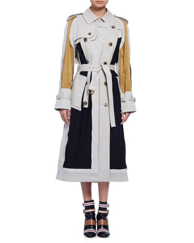 Long-Sleeve Colorblock Trenchcoat, Multi