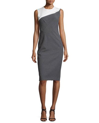 Sleeveless Bicolor Sheath Dress, Black/White