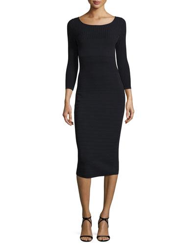 3/4-Sleeve Ribbed Knit Midi Dress, Black