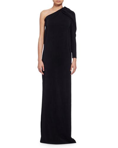 One-Sleeve Woven Column Gown, Black (Noir)