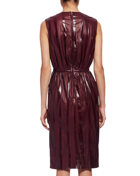 Sleeveless Accordion-Pleated Leather Dress, Burgundy